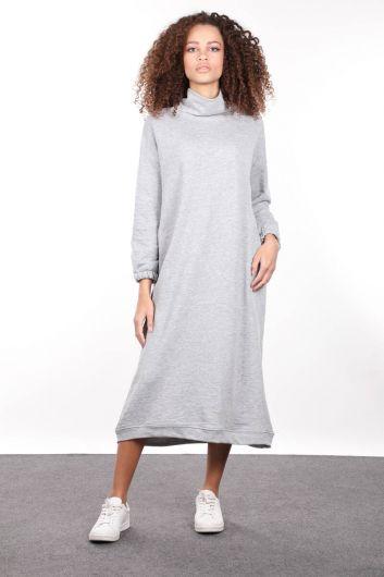 Gri Boğazlı Basic Kadın Sweat Elbise - Thumbnail