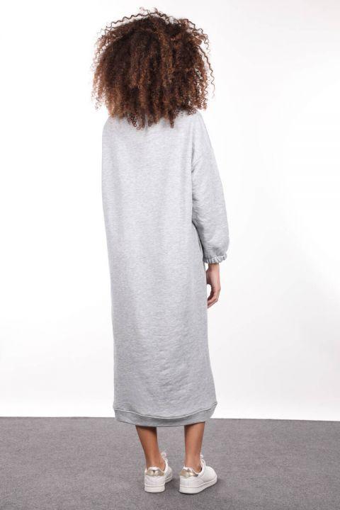 Gri Boğazlı Basic Kadın Sweat Elbise