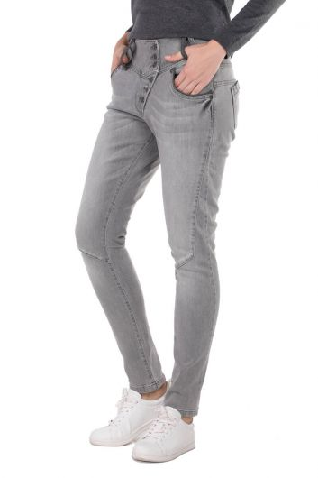 Banny Jeans - Gri Düğme Detaylı Slim Fit Kadın Jean Pantolon (1)