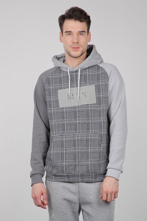 Gri Kareli Kapüşonlu Erkek Sweatshirt