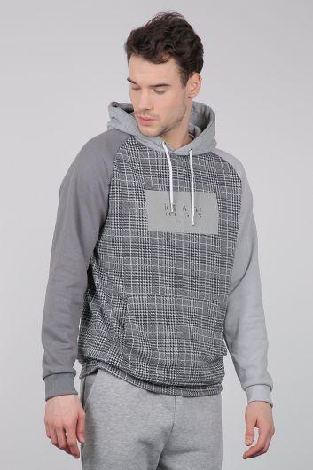 MARKAPIA - Gri Kareli Kapüşonlu Erkek Sweatshirt (1)