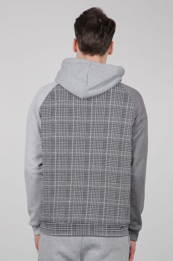 Gri Kareli Kapüşonlu Erkek Sweatshirt - Thumbnail