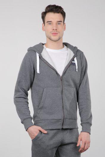 MARKAPIA - Gri Şardonlu Fermuarlı Kapüşonlu Erkek Sweatshirt (1)