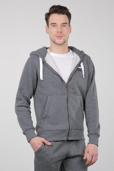 Gri Şardonlu Fermuarlı Kapüşonlu Erkek Sweatshirt