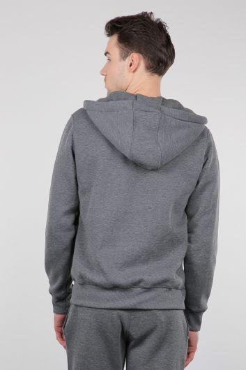 Gri Şardonlu Fermuarlı Kapüşonlu Erkek Sweatshirt - Thumbnail