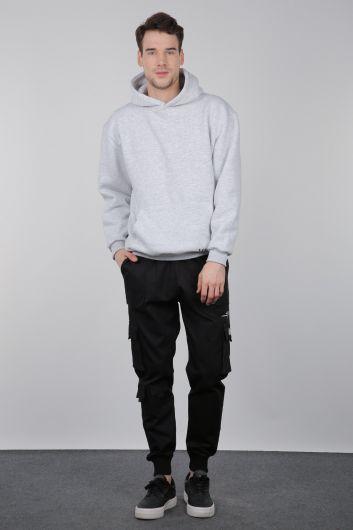 Gri Şardonlu Kanguru Cepli Erkek Sweatshirt - Thumbnail
