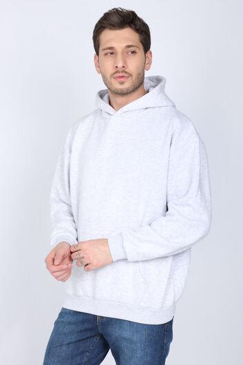 MARKAPIA - Gri Şardonlu Kanguru Cepli Kapüşonlu Erkek Sweatshirt (1)