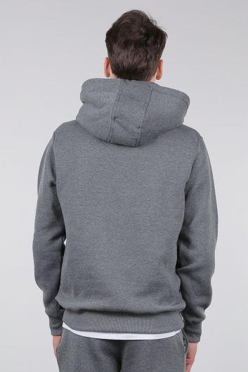 Gri Şardonlu Kanguru Cepli Kapüşonlu Erkek Sweatshirt - Thumbnail