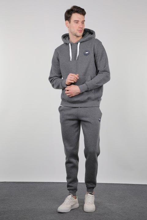 Gri Şardonlu Kanguru Cepli Kapüşonlu Erkek Sweatshirt