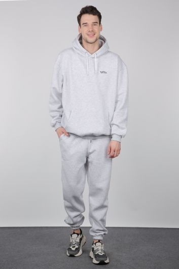 Gri Şardonlu Kapüşonlu Erkek Sweatshirt - Thumbnail
