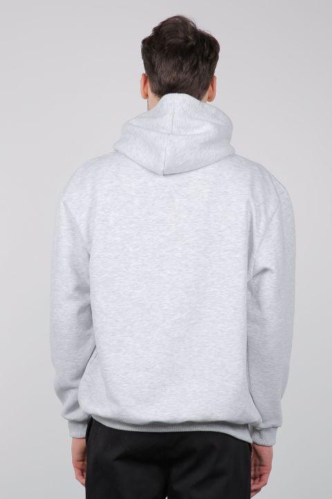 Gri Şardonlu Kapüşonlu Erkek Sweatshirt