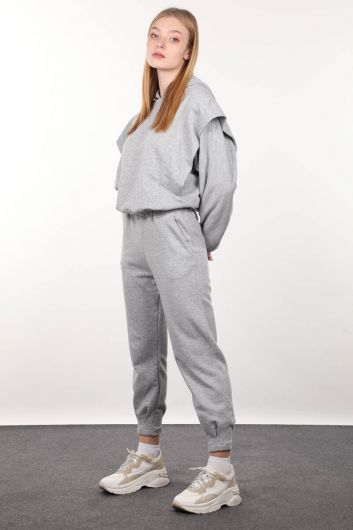 MARKAPIA WOMAN - Gray Wadded Hooded Tracksuit Set (1)
