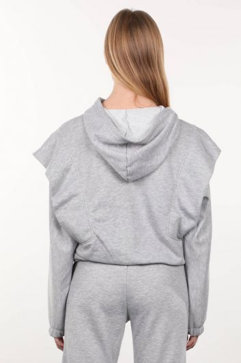 Gri Vatkalı Kapüşonlu Kadın Sweatshirt - Thumbnail