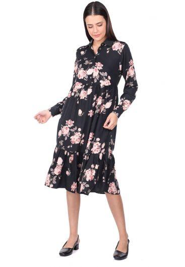Gül Desenli Büzgülü Elbise - Thumbnail