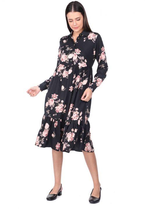 Gül Desenli Büzgülü Elbise