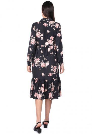 MARKAPIA WOMAN - Gül Desenli Büzgülü Elbise (1)