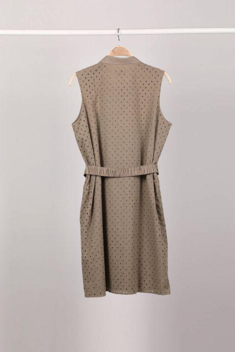 Haki Düğmeli Astarlı Fistolu Kadın Elbise