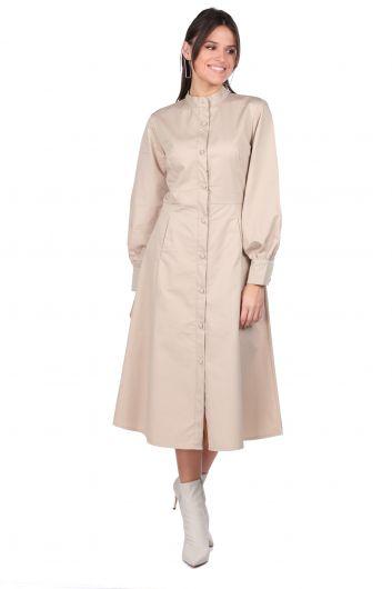 Hakim Yaka Düğmeli Bej Kadın Elbise - Thumbnail