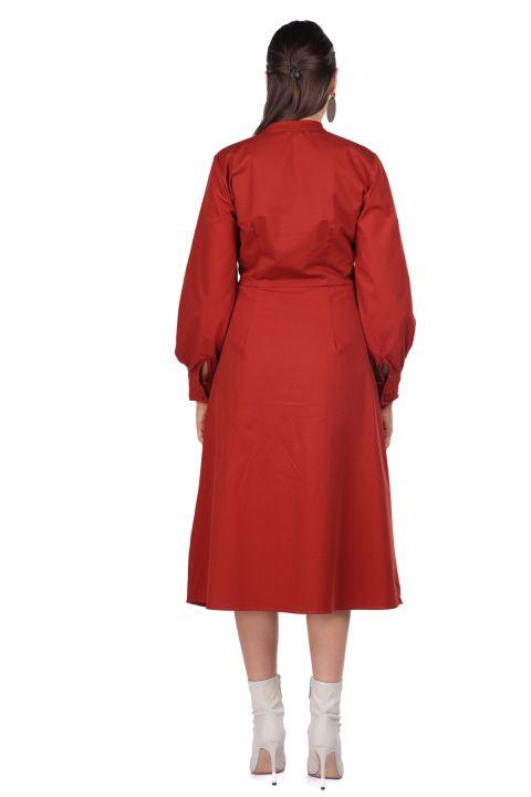 Hakim Yaka Düğmeli Kiremit Kadın Elbise
