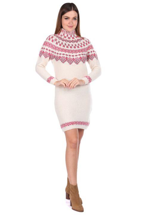 Half Turtleneck Pink Women's Knitwear Sweater
