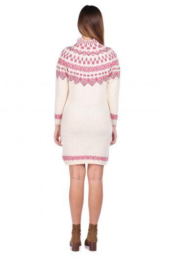 Half Turtleneck Pink Women's Knitwear Sweater - Thumbnail