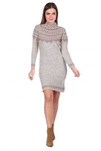 Half Turtleneck Beige Women's Knitwear Sweater - Thumbnail