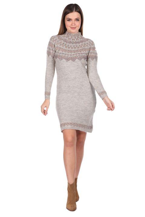 Half Turtleneck Beige Women's Knitwear Sweater