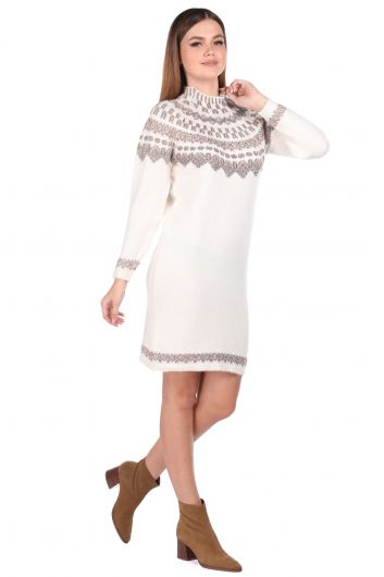 Half Turtleneck Cream Women Knitwear Sweater - Thumbnail