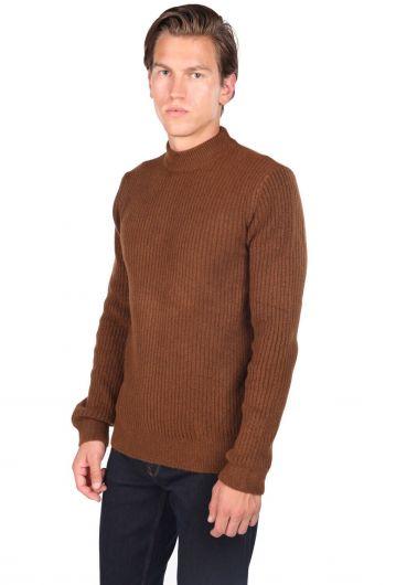 MARKAPIA MAN - Мужской коричневый свитер с высоким воротом (1)