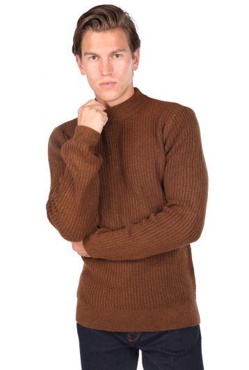 Men's Brown Turtleneck Sweater - Thumbnail
