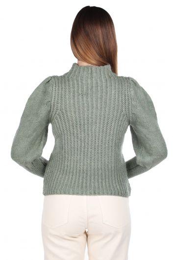 Зеленый женский трикотажный свитер с половиной шеи с рукавами арбуз - Thumbnail