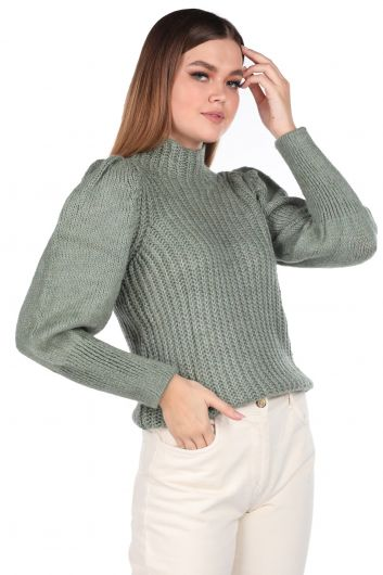 MARKAPIA WOMAN - Half Neck Watermelon Sleeve Green Women's Knitwear Sweater (1)