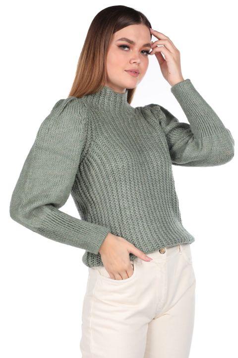 Half Neck Watermelon Sleeve Green Women's Knitwear Sweater