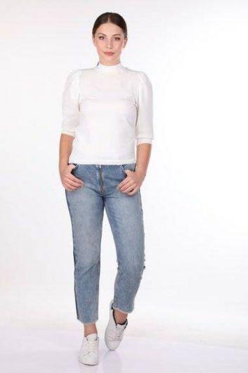 Белый тонкий вязаный свитер с высоким воротом с короткими рукавами - Thumbnail