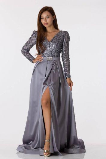 فستان سهرة ساتان رمادي مزين بالترتر بأكمام طويلة - Thumbnail