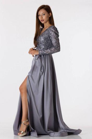 shecca - فستان سهرة ساتان رمادي مزين بالترتر بأكمام طويلة (1)
