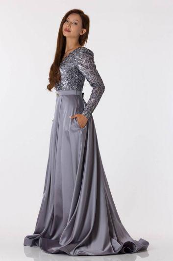 Серое атласное вечернее платье с длинными рукавами и пайетками - Thumbnail