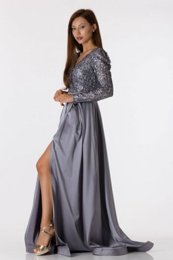 shecca - Long Sleeve Sequined Gray Satin Evening Dress (1)