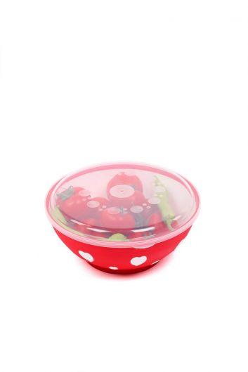 Крытая круглая миска с сердечком 3 LT - Thumbnail