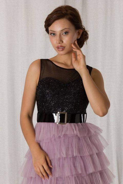 Лавандово-черное многослойное короткое вечернее платье со складками