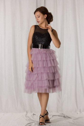 Лавандово-черное многослойное короткое вечернее платье со складками - Thumbnail