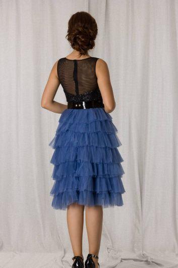 Mavi Siyah Kat Kat Pileli Kısa Abiye - Thumbnail