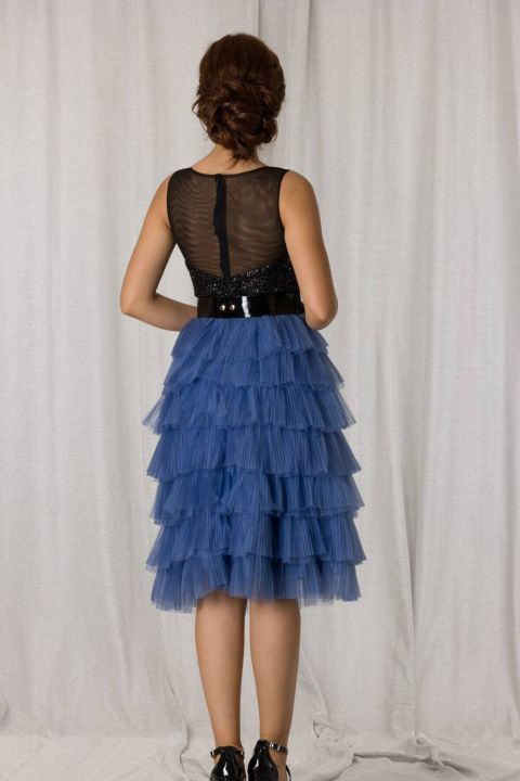 Mavi Siyah Kat Kat Pileli Kısa Abiye