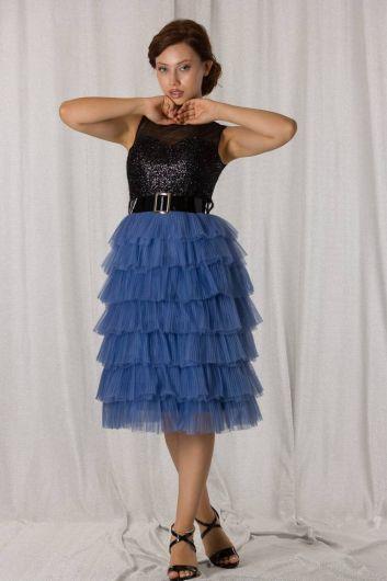 shecca - Сине-черное длинное вечернее платье со складками и многослойной отделкой (1)