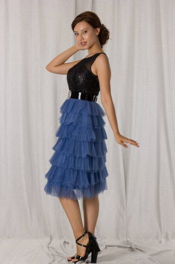 Сине-черное длинное вечернее платье со складками и многослойной отделкой - Thumbnail