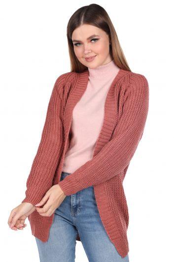 MARKAPIA WOMAN - Женский трикотажный кардиган розового цвета с открытой передней частью (1)