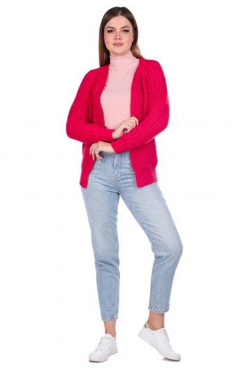 Light Pink Women's Knitwear Cardigan - Thumbnail