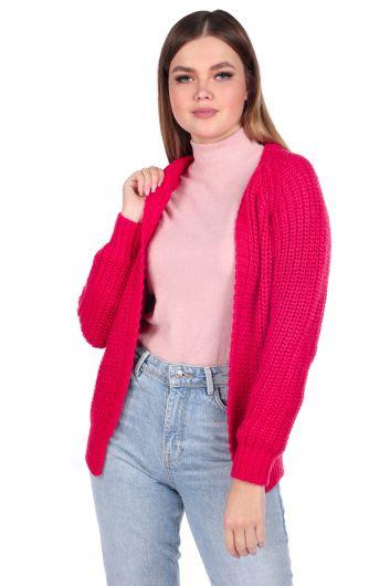 Светло-розовый женский трикотажный кардиган - Thumbnail