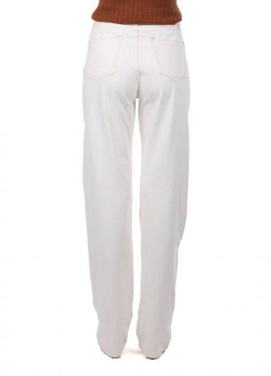 High Waist Wide Leg Ecru Women Jean Trousers - Thumbnail