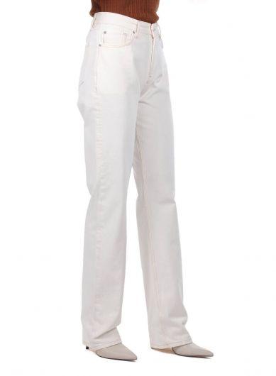 Экрю женские джинсовые брюки с высокой талией и широкими штанинами - Thumbnail